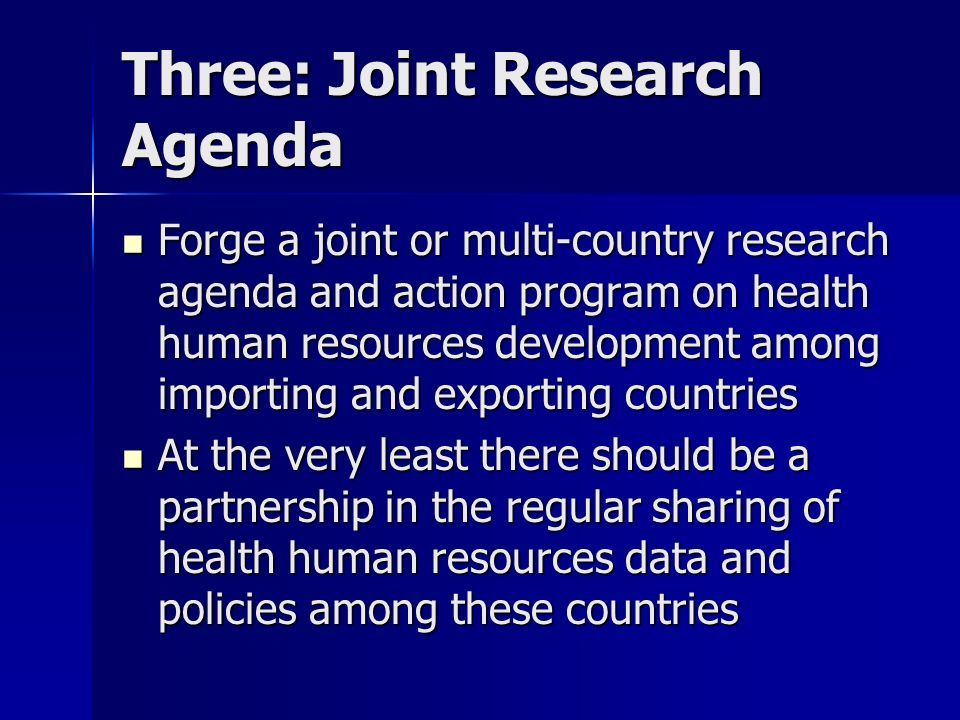 Three: Joint Research Agenda