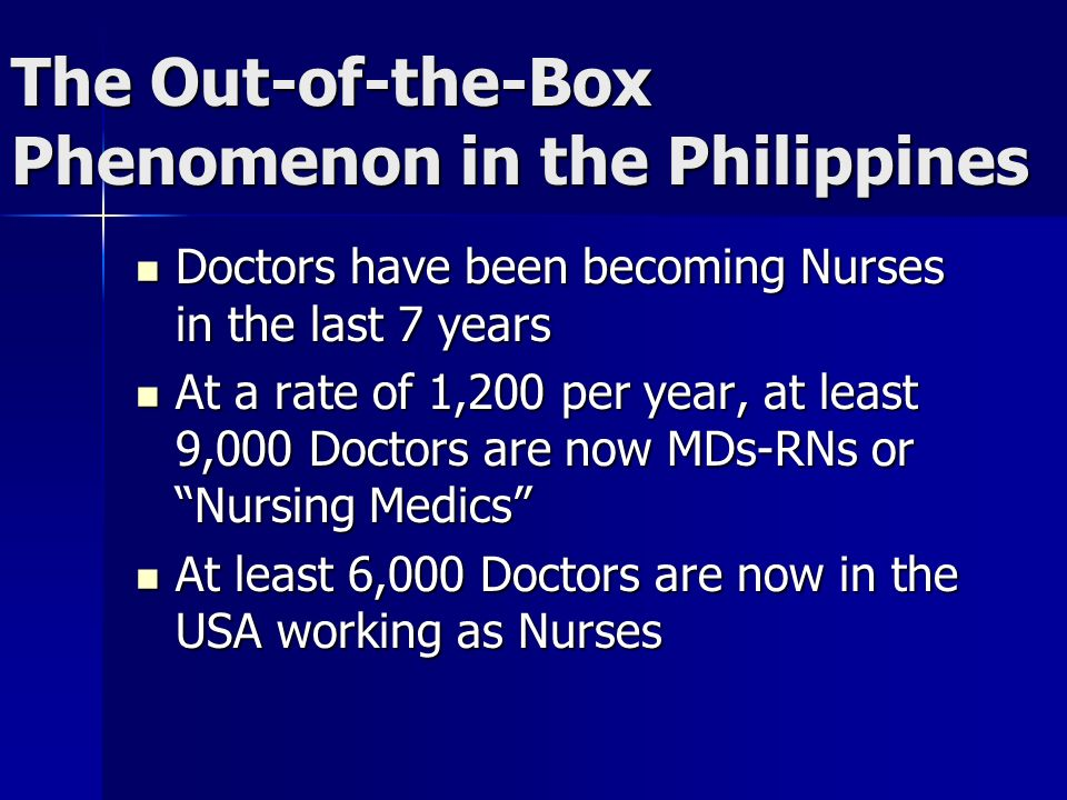 The Out-of-the-Box Phenomenon in the Philippines