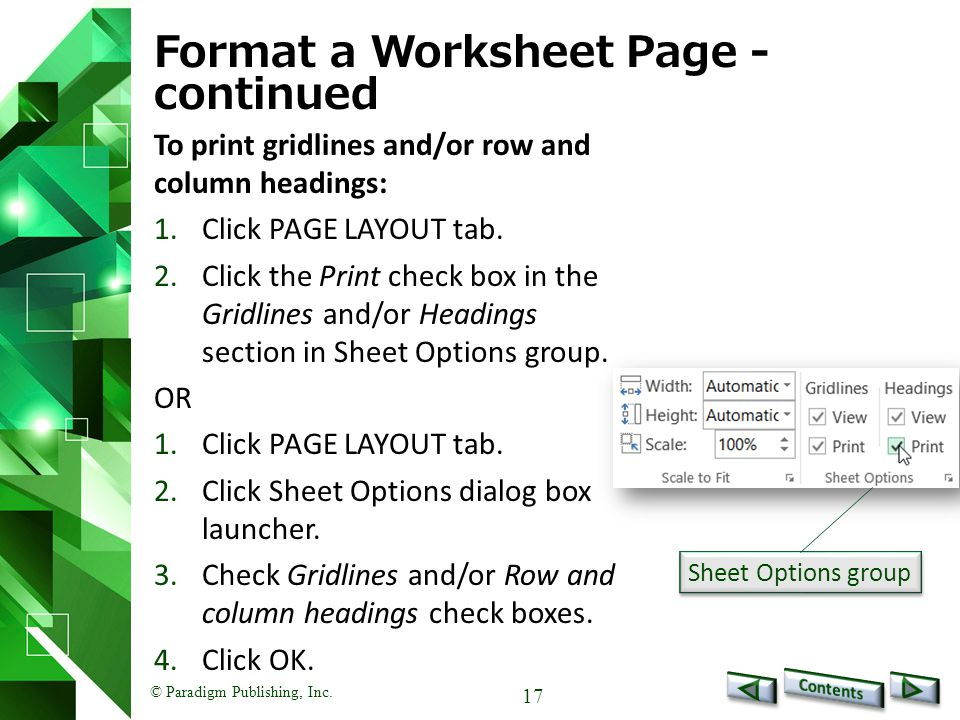Format a Worksheet Page - continued