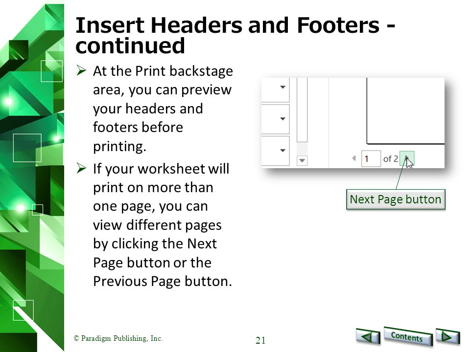 Insert Headers and Footers - continued