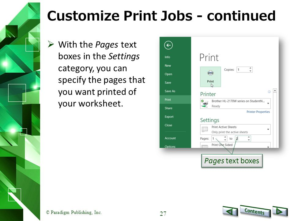 Customize Print Jobs - continued