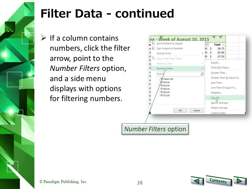 Filter Data - continued