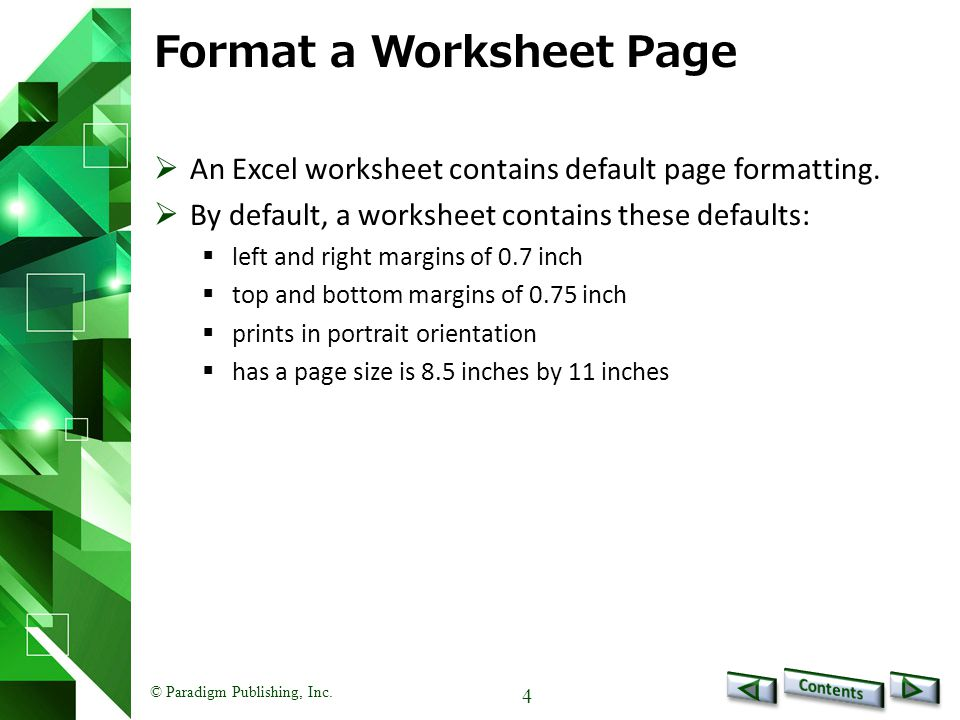 Format a Worksheet Page