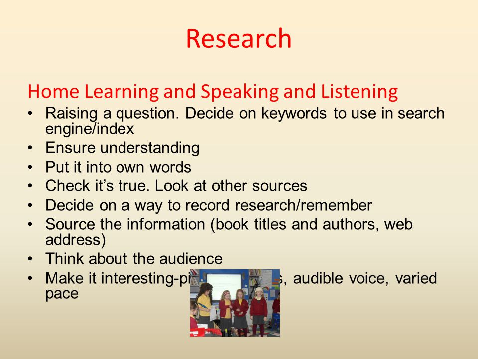Research Home Learning and Speaking and Listening