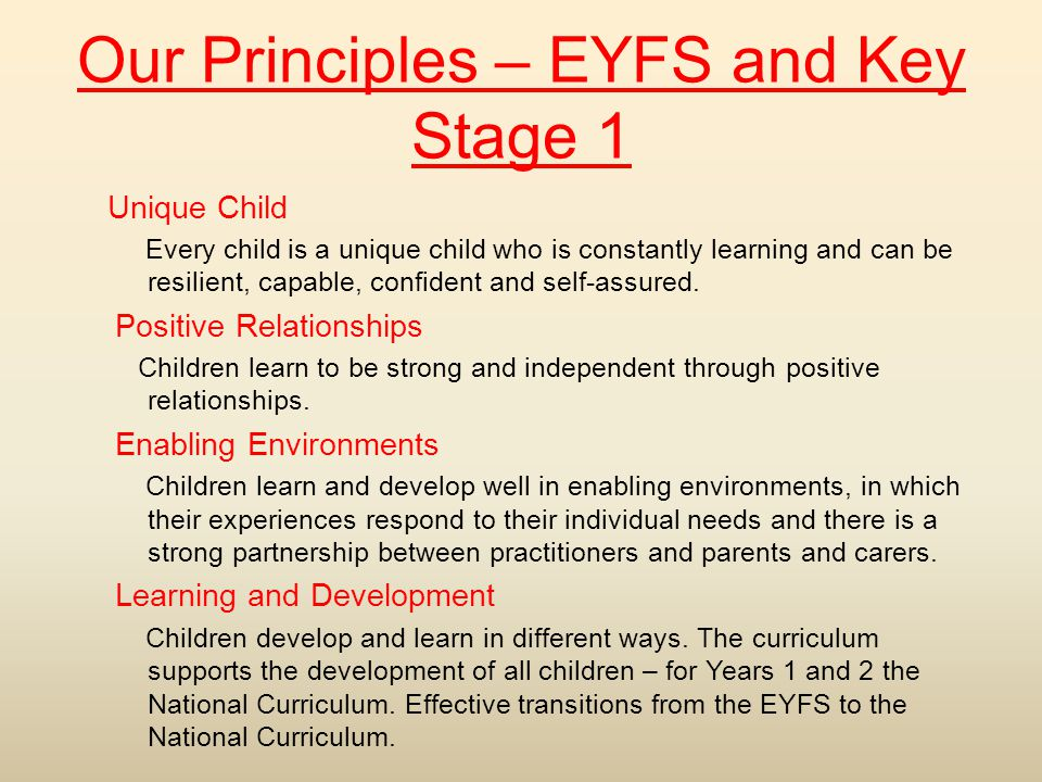 Our Principles – EYFS and Key Stage 1