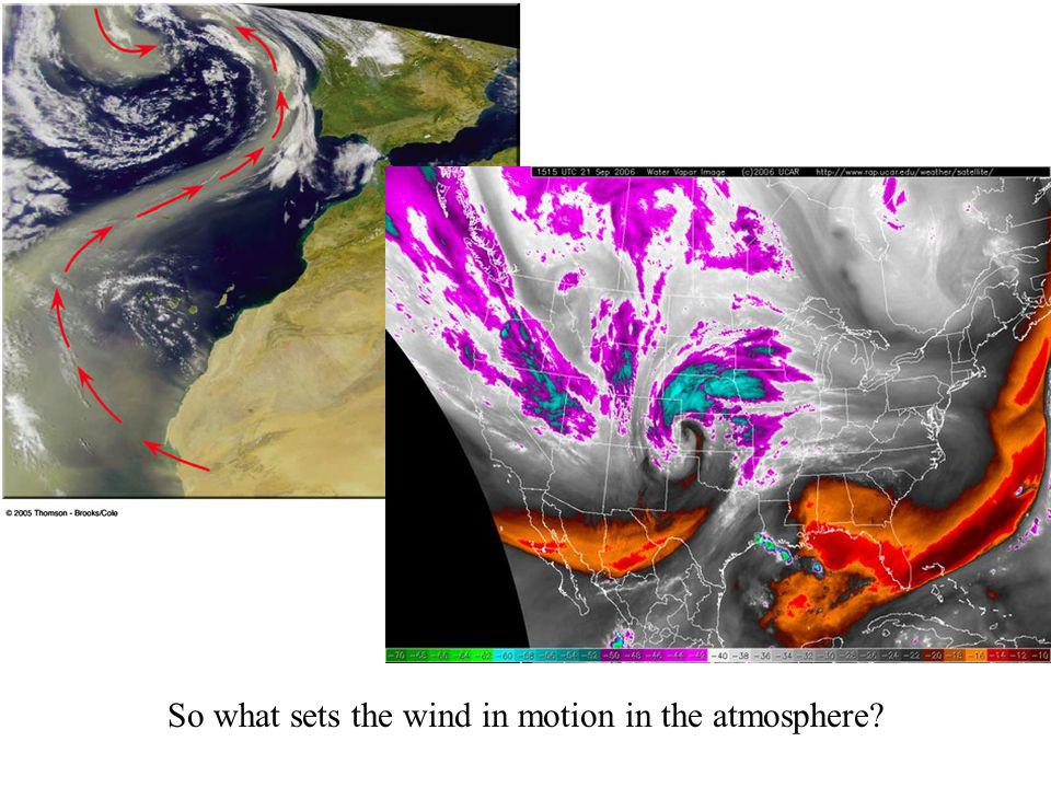 So what sets the wind in motion in the atmosphere