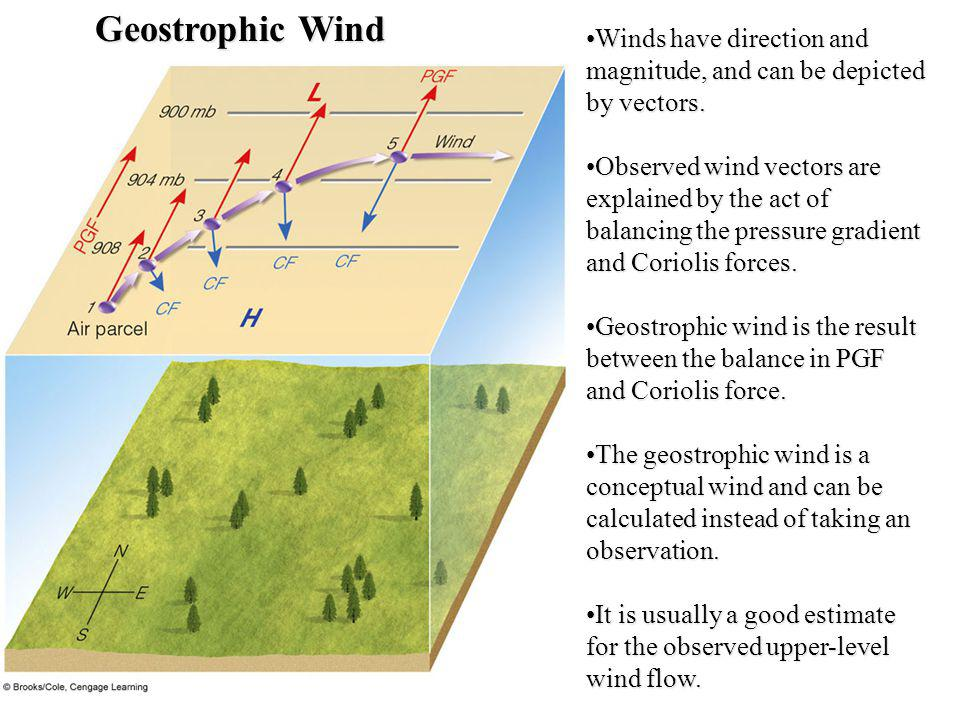 Geostrophic Wind Winds have direction and magnitude, and can be depicted by vectors.