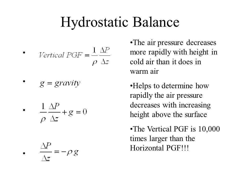Hydrostatic Balance The air pressure decreases more rapidly with height in cold air than it does in warm air.
