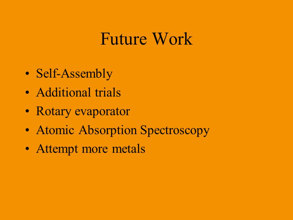 Future Work Self-Assembly Additional trials Rotary evaporator