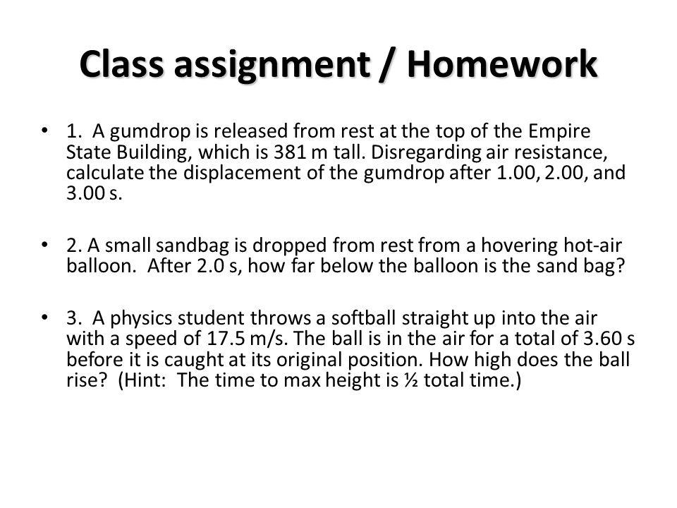 Class assignment / Homework