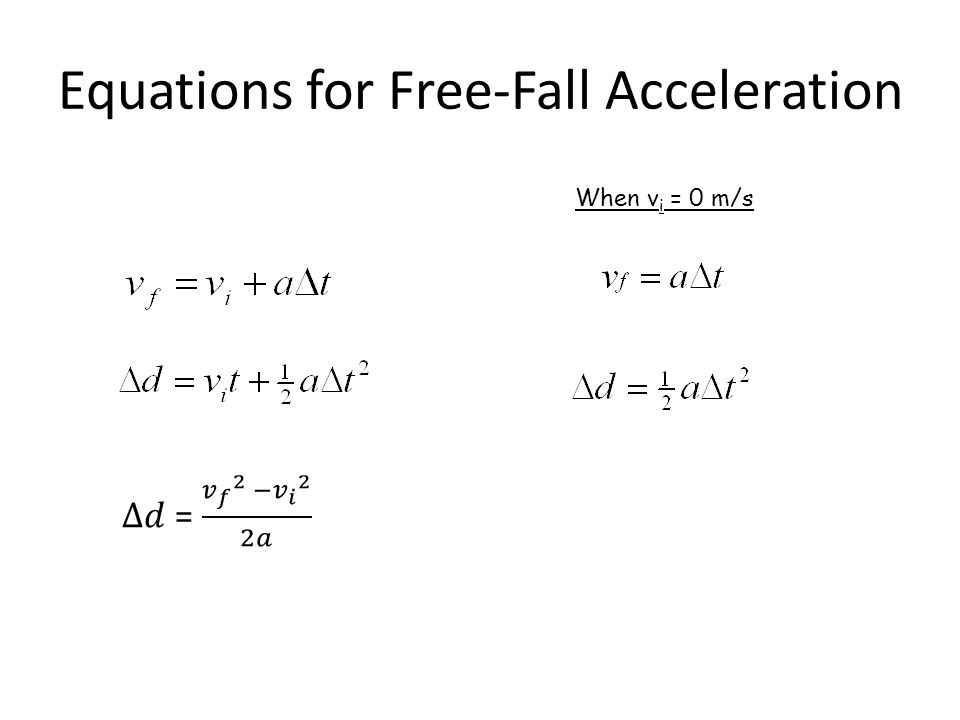 Equations for Free-Fall Acceleration