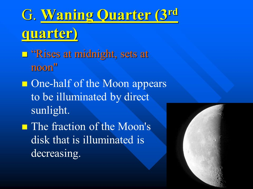 G. Waning Quarter (3rd quarter)