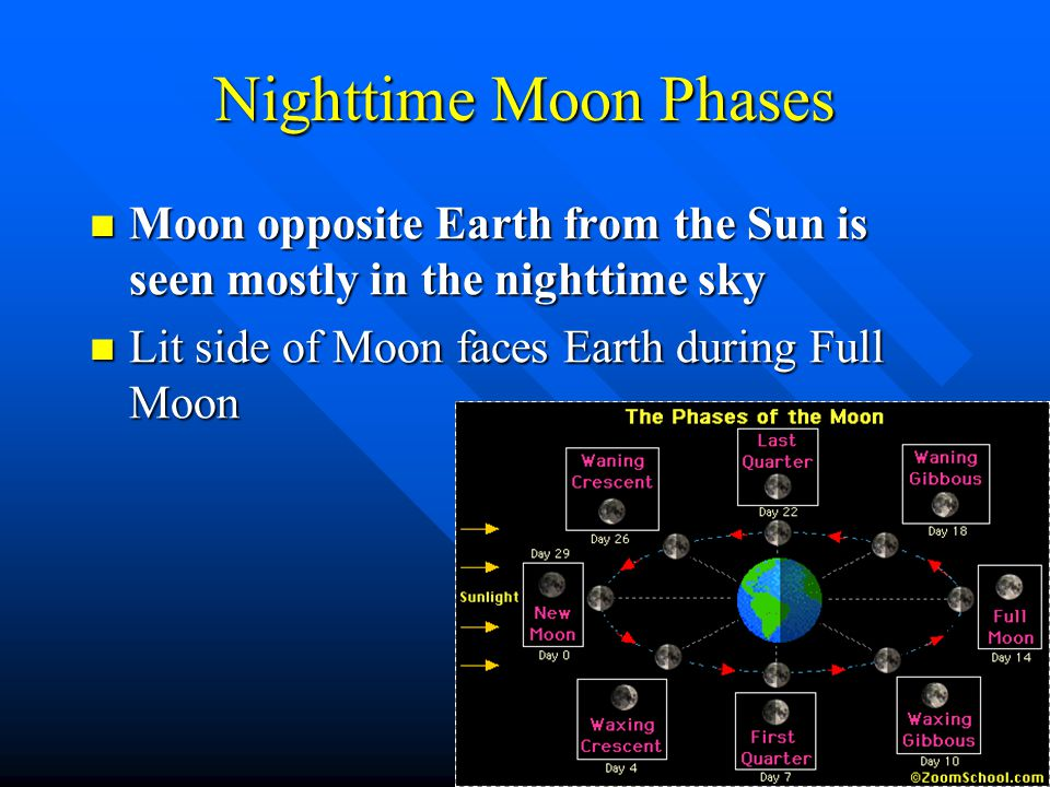 Nighttime Moon Phases Moon opposite Earth from the Sun is seen mostly in the nighttime sky.