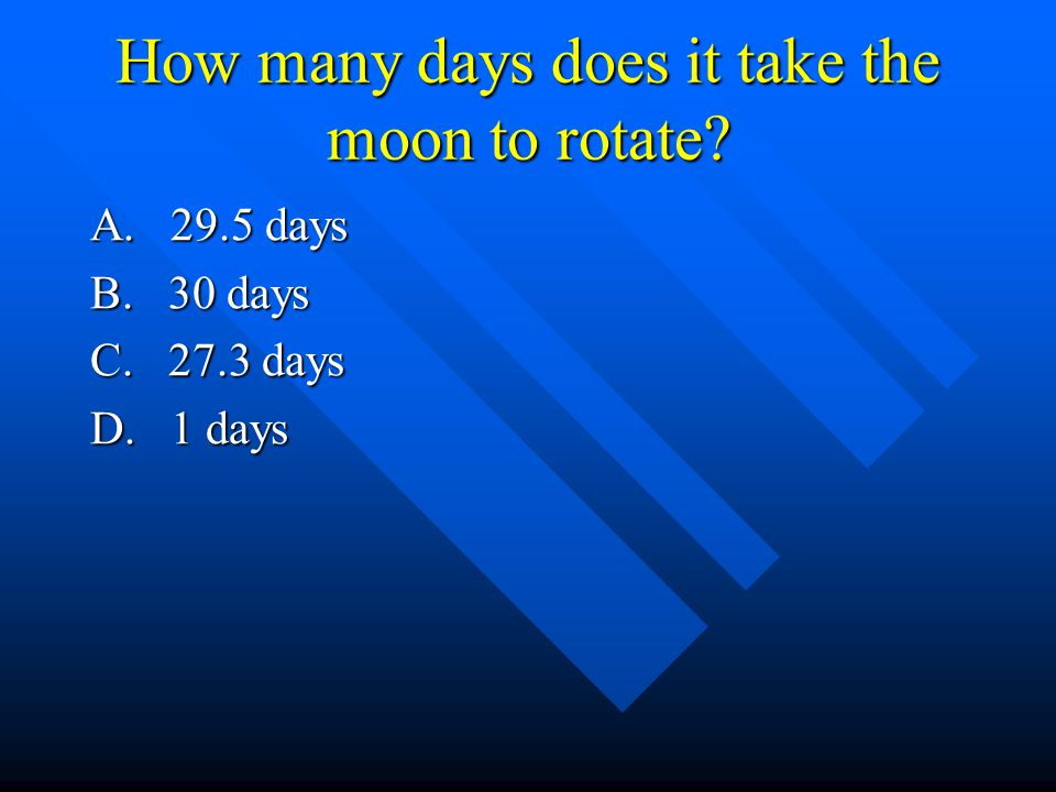 How many days does it take the moon to rotate