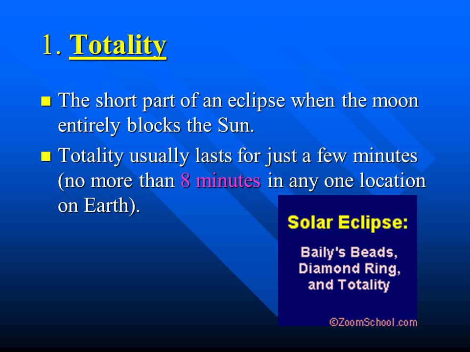 1. Totality The short part of an eclipse when the moon entirely blocks the Sun.