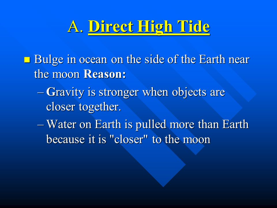A. Direct High Tide Bulge in ocean on the side of the Earth near the moon Reason: Gravity is stronger when objects are closer together.