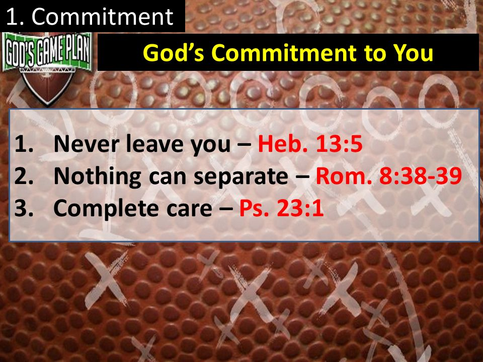 God's Commitment to You
