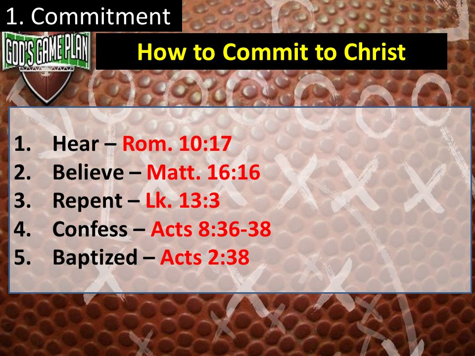 1. Commitment How to Commit to Christ Hear – Rom. 10:17