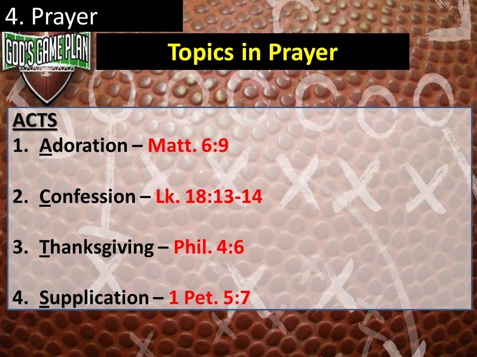 4. Prayer Topics in Prayer ACTS Adoration – Matt. 6:9