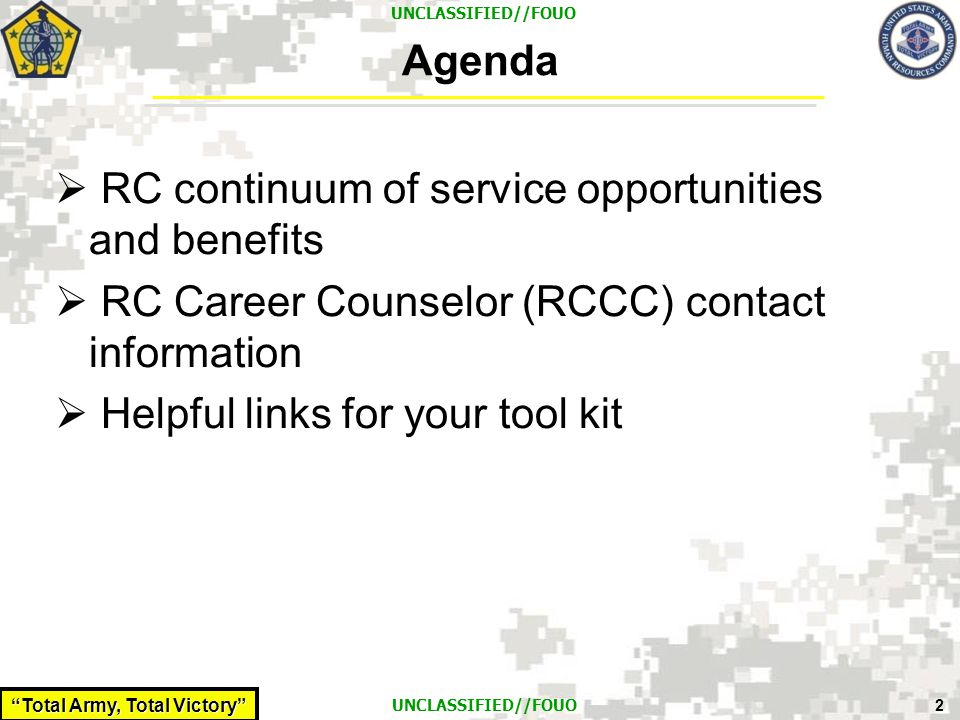 Agenda RC continuum of service opportunities and benefits. RC Career Counselor (RCCC) contact information.