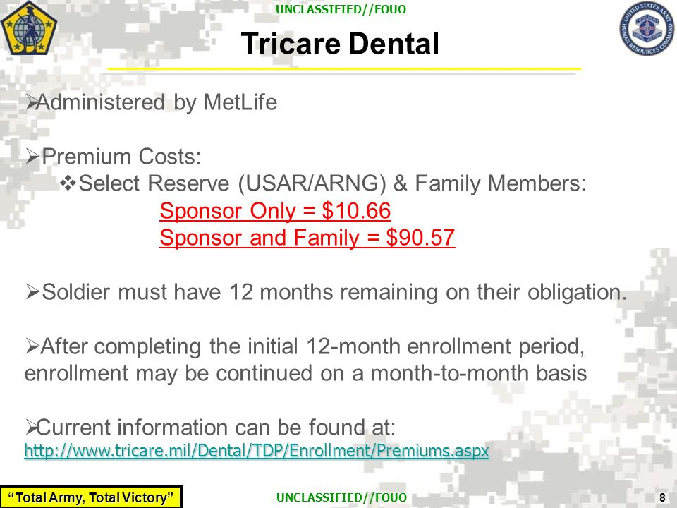 Tricare Dental Administered by MetLife Premium Costs: