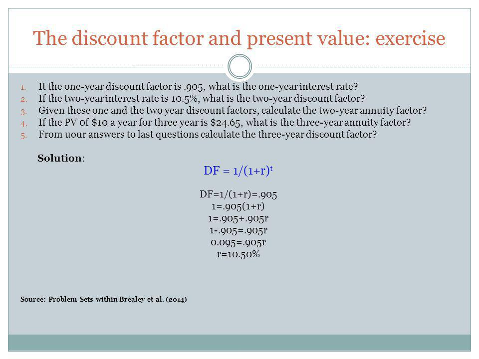 The discount factor and present value: exercise