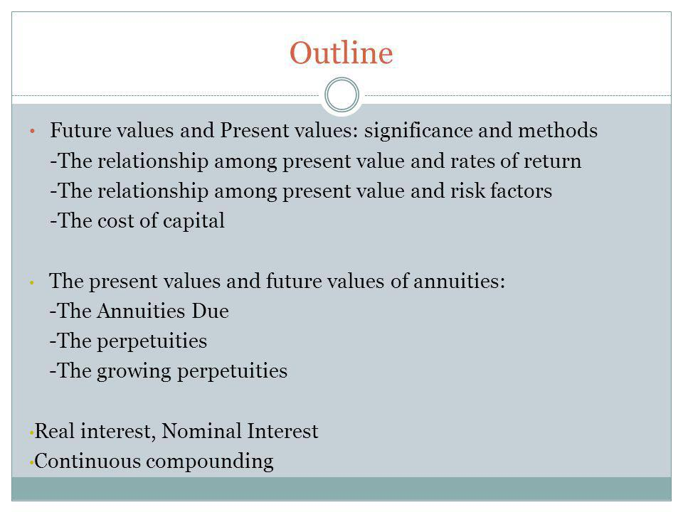 Outline Future values and Present values: significance and methods