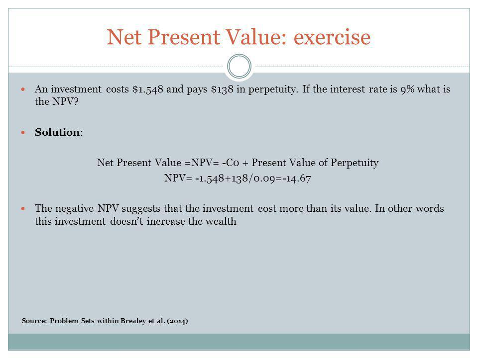 Net Present Value: exercise