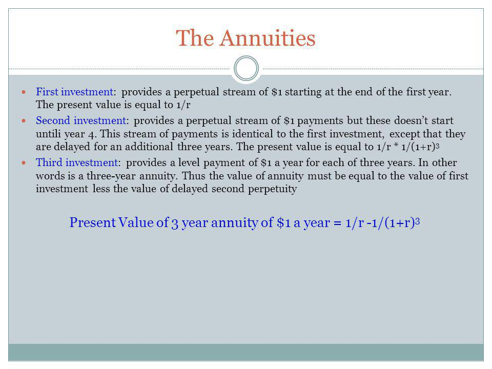 Present Value of 3 year annuity of $1 a year = 1/r -1/(1+r)3