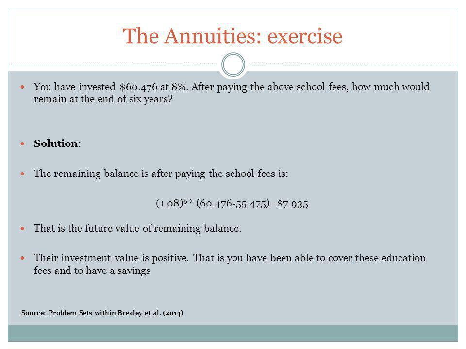 The Annuities: exercise