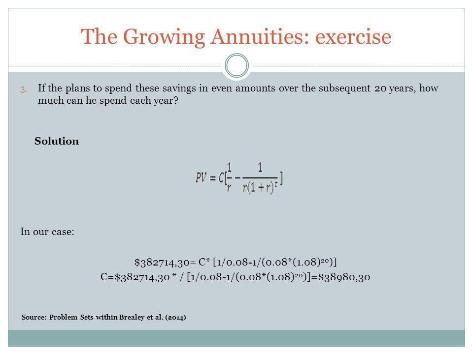 The Growing Annuities: exercise