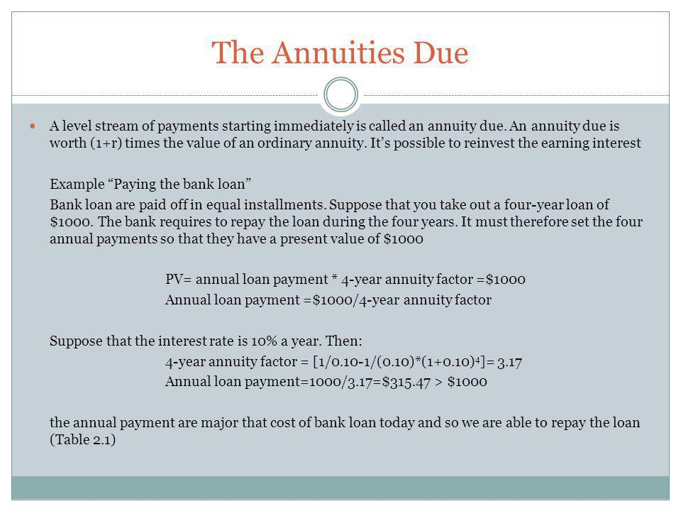 The Annuities Due