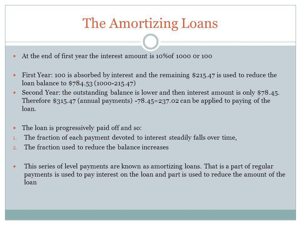 The Amortizing Loans At the end of first year the interest amount is 10%of 1000 0r 100.