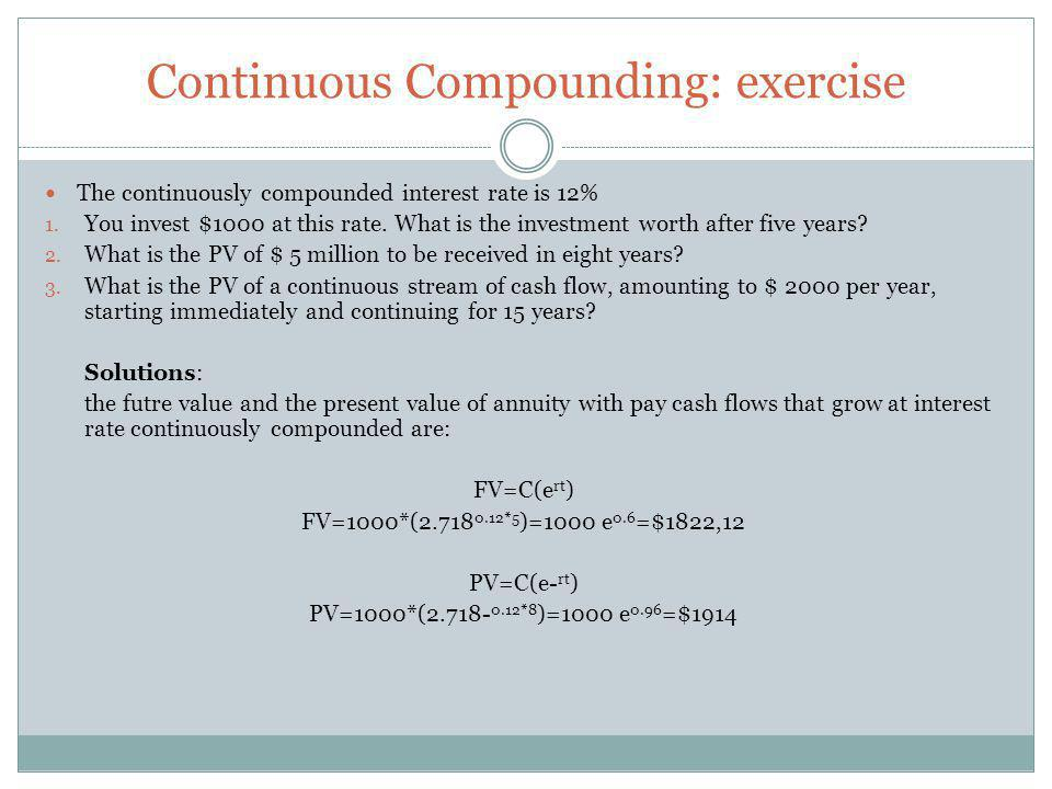 Continuous Compounding: exercise