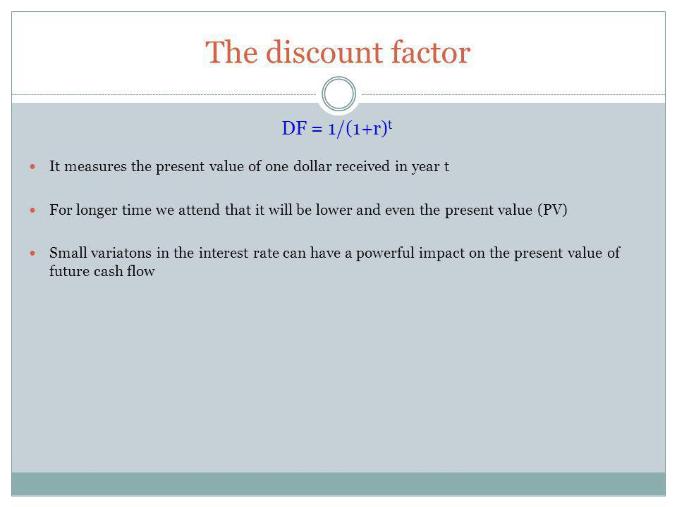 The discount factor DF = 1/(1+r)t