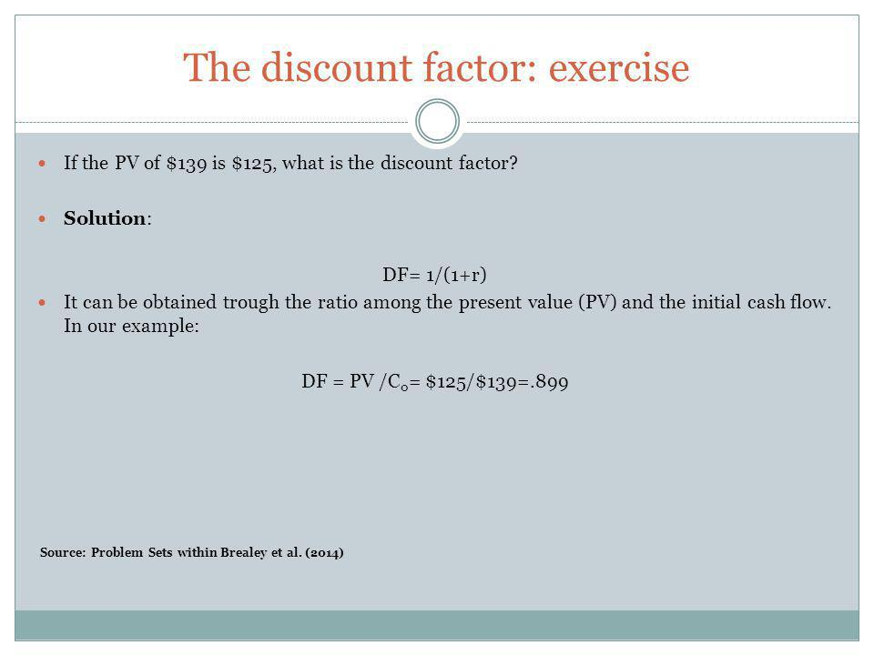 The discount factor: exercise