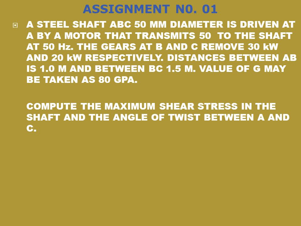 ASSIGNMENT N0. 01