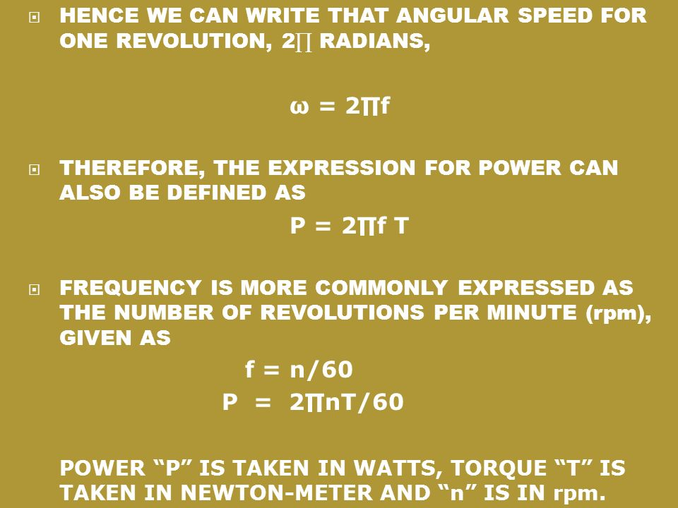 HENCE WE CAN WRITE THAT ANGULAR SPEED FOR ONE REVOLUTION, 2∏ RADIANS,