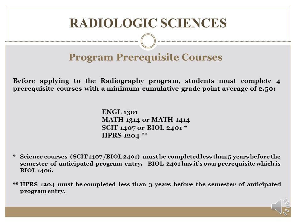 Program Prerequisite Courses