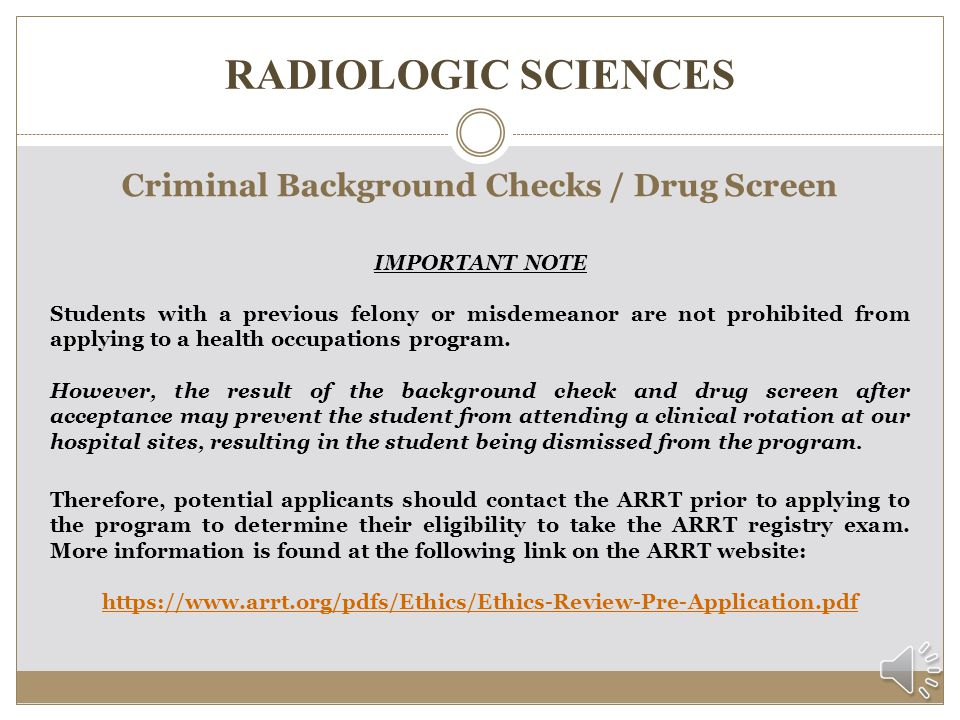 Criminal Background Checks / Drug Screen