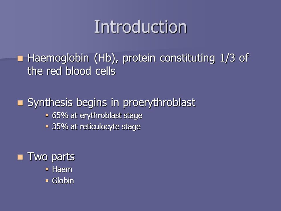 Introduction Haemoglobin (Hb), protein constituting 1/3 of the red blood cells. Synthesis begins in proerythroblast.