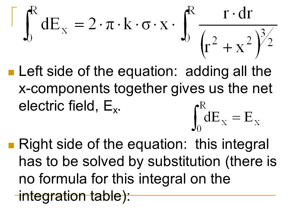 Left side of the equation: adding all the x-components together gives us the net electric field, Ex.