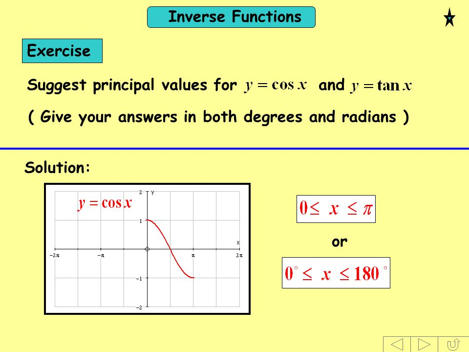 Exercise Suggest principal values for and. ( Give your answers in both degrees and radians )