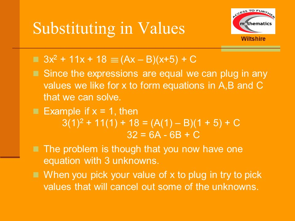 Substituting in Values