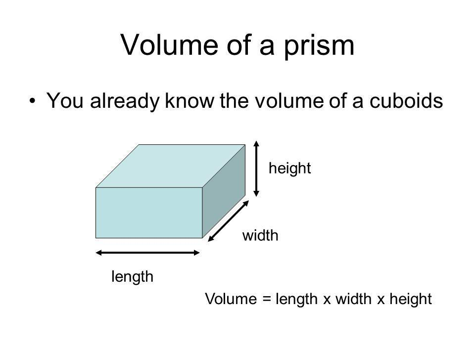 Volume of a prism You already know the volume of a cuboids height