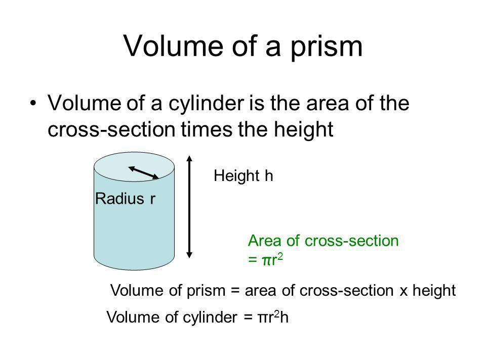 Volume of a prism Volume of a cylinder is the area of the cross-section times the height. Height h.
