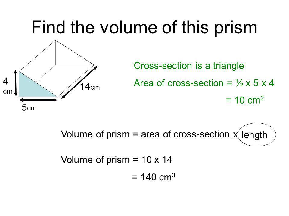 Objective: Be able to work out the volume of a prism ...