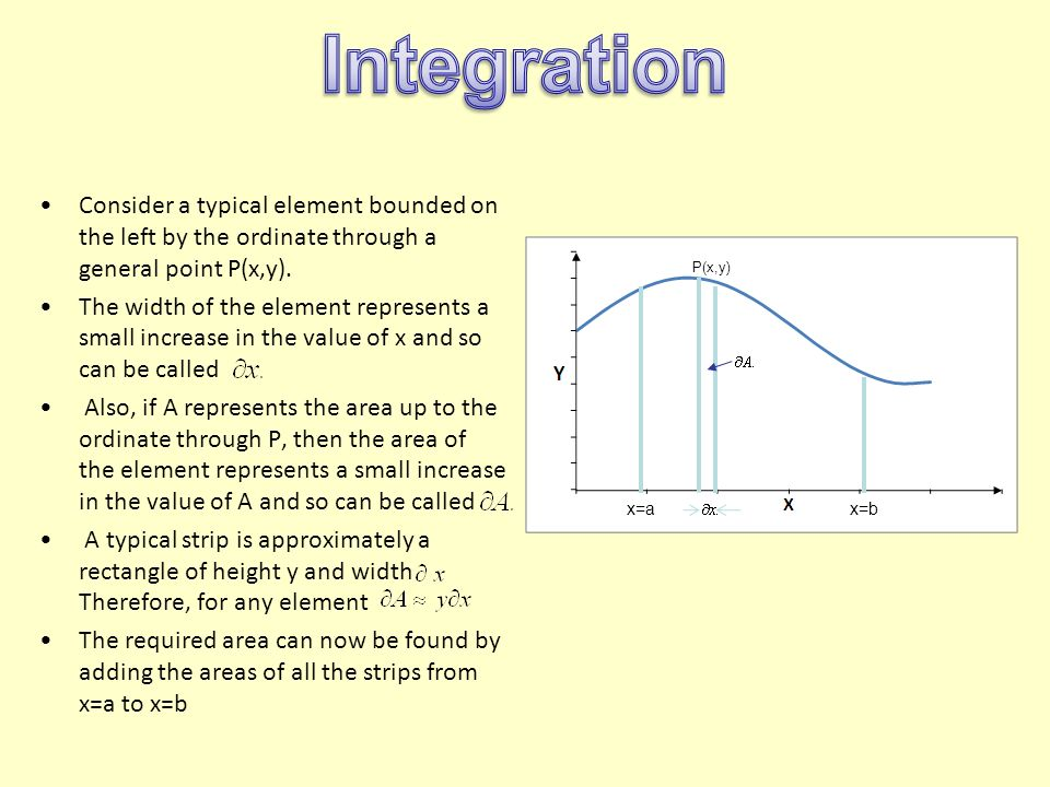Integration Consider a typical element bounded on the left by the ordinate through a general point P(x,y).