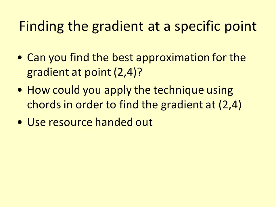 Finding the gradient at a specific point