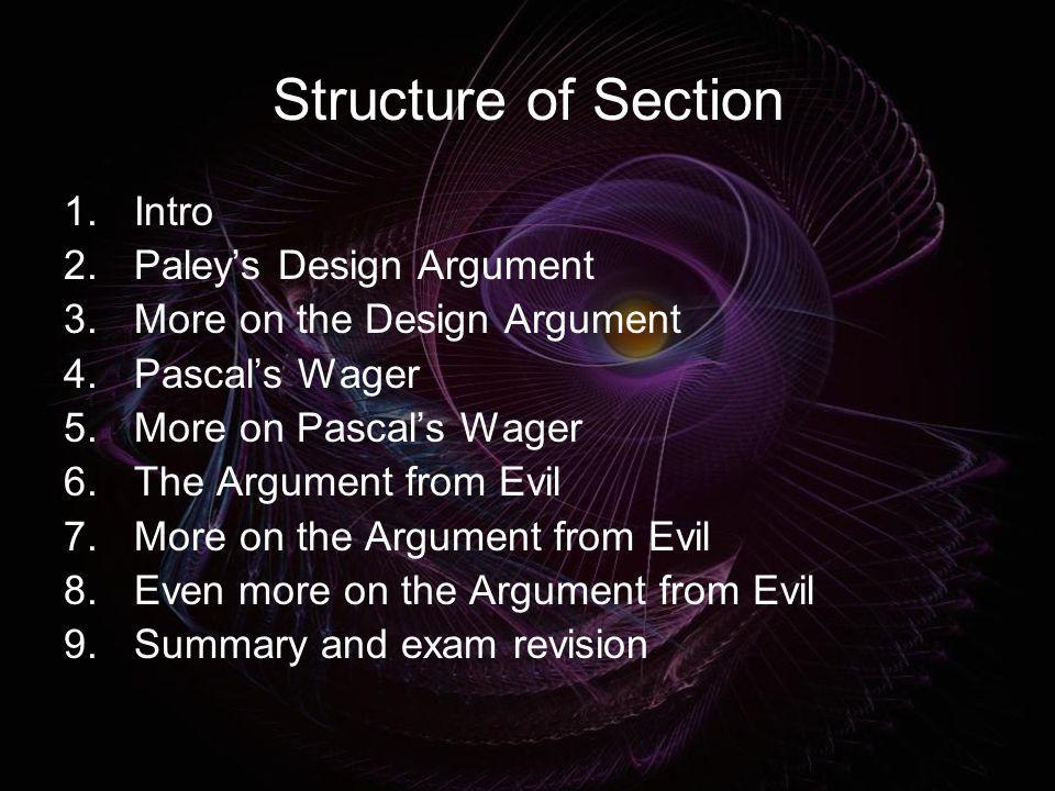 Structure of Section Intro Paley's Design Argument